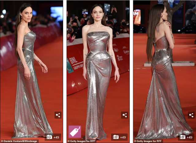 فستان أنجلينا جولى بمهرجان روما السينمائي يشعل السوشيال ميديا